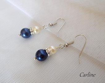 Tess - Earrings pearls Swarovski Pearl ivory rhinestone Navy Blue
