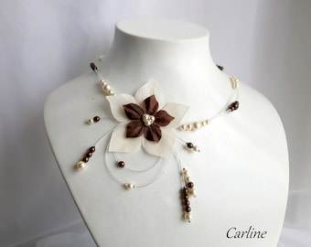 Nude - Necklace Double round ivory Brown bridal silk flower