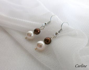 Tess - earrings light ivory and Brown Swarovski Crystal and Pearl