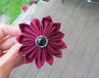 Cute Dark Red Fabric Flower Hair Clip Hair Pin
