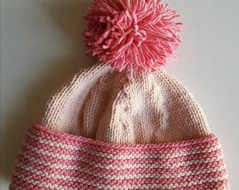 Little girl with lapel and tassel Hat pink