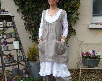 taupe linen apron pattern Clarisse