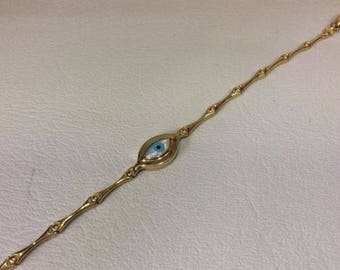 "4.70Grams 3.1 mm 7.5"" Lady's 10k Yellow Gold Fancy Link Evil Eye Bracelet"