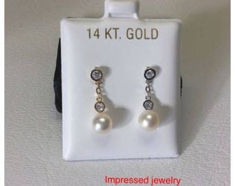 14K Yellow/White real Gold Fresh Water Pearl Cz Zirconi Hanging drop Screw Back Stud Earrings