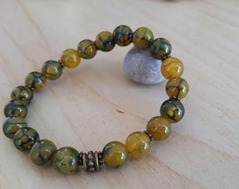Agate (8 mm beads) from Madagascar dragon bracelet