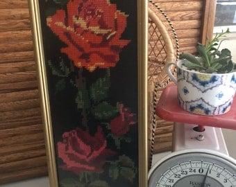 Vintage Framed Rose Cross Stitch