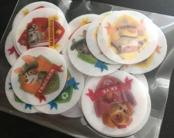 Edible Rice Paper Paw Patrol Cupcake Toppers 1 Inch Round PRECUT