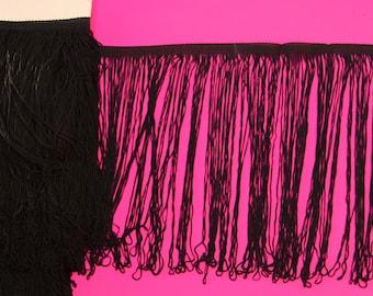 Charleston black fringe lace width 30 cm polyester
