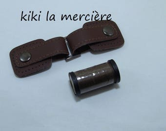 button attachment Brandenburg Brown faux leather with snap 12.5 cm plus matching very strong thread