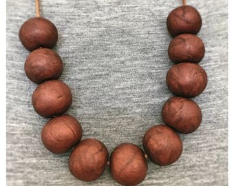 Red Copper Polymer Clay Necklace