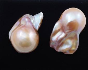 Baroque pearl stud earrings, freshwater pearl stud earring