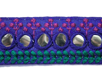 Ribbon lace blue green Fuchsia mirror 3.2 cm x 1 m