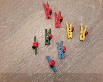 Set of 8 clothespins with Ladybug