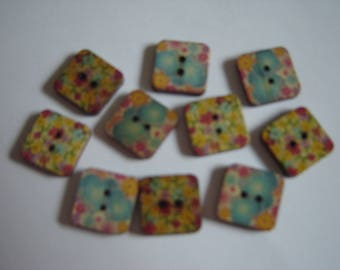 10 BUTTONS WOOD FLOWER SHAPED SQUARES / / 15 MM / / SET 5