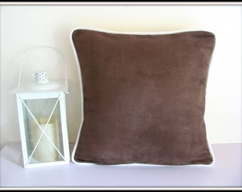 Brown suede pillow cover with piping
