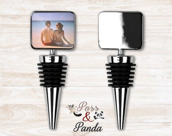 Personalised rectangle wine stopper, wine stop, photo wine stop