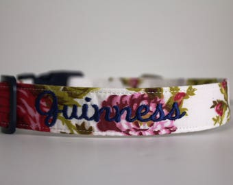 Perfect Peonies Floral Collar, Flower Dog Collar, Floral Collar, Custom Dog Collar, Personalized Dog Collar, Embroidered Collar, Dog Collar