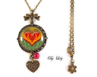 """Orange red heart"" necklace, retro pendant cabochons!"