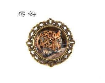 "Brooch ""Feline Leopard fur Fawn"", retro image cabochon!"