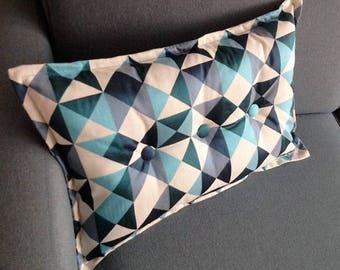 rectangular cushion, blue Kaleidoscope pattern