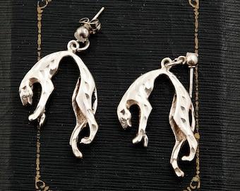 Deco Style Designer Diamond Cut Sterling Silver Panther Earrings | Vintage | 9.7 Grams | Estate Fresh | Cartier Style | Drop | Rare | L