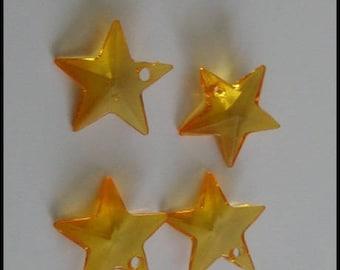 orange 1 acrylic set of 4 stars charm pendants 18 mm