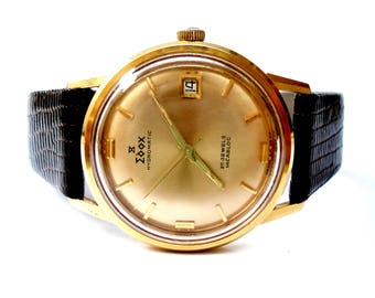 Watch Vintage Edox Hydromatic Automatic 25 Jewels Art Deco Circa 1960 Case Gold Plate Men 34mm Working