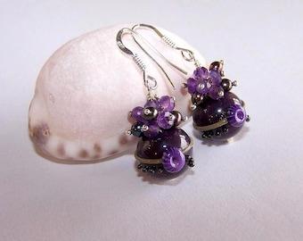 """Eggplant"" glass earring"