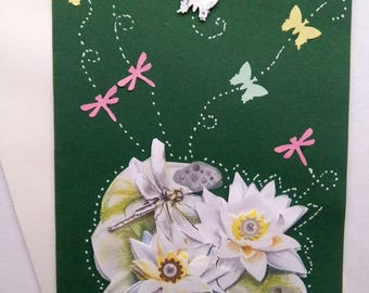 """Card """"dragonflies celebrate water lily"""""""