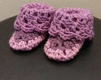 Purple baby booties
