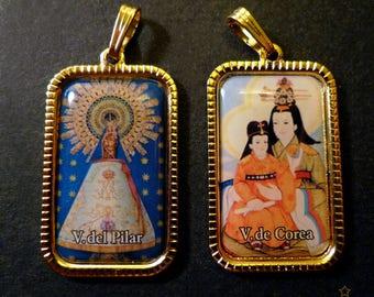 2 rectangular gold metal religious image pendants