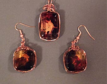 Copper and resin necklace  and earrings