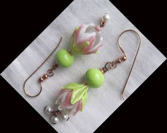 "Earrings copper ROSE asymmetrical ""Sweetness and delight"""