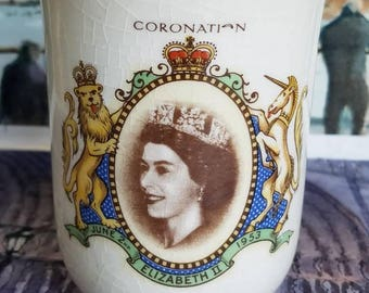 "Vintage Ceramic Cup of "" Coronation of Queen Elizabeth ll"" 1953"