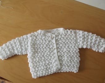 """White Cardigan for baby 0/3 months """"Bluebell the close"""""""