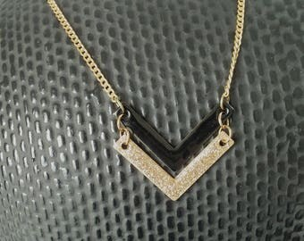 Chevron black and gold - enameled jewelry necklace