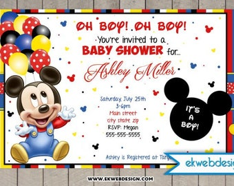 Mickey Mouse Baby Shower Invitations- It's a Boy Baby Shower Invitations - Printable File