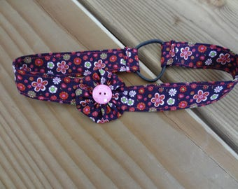 head band, floral cotton fabric yoyo flower headband with (purple tone, fuschia and pink)