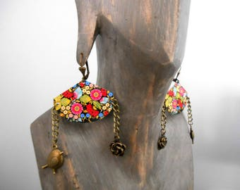 Earrings Bohemian hippie folk flowers bird
