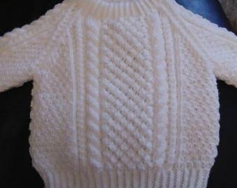 Hand knit aran style jumper 6/9 months