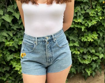 Vintage High Waisted Shorts with Sunflowers