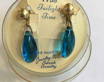 Sarah Coventry Twilight Time Clip On Earrings - gold tone and blue