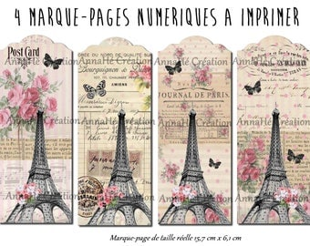 "4 bookmarks to print ""Paris romance"", vintage, Paris, Eiffel Tower theme"