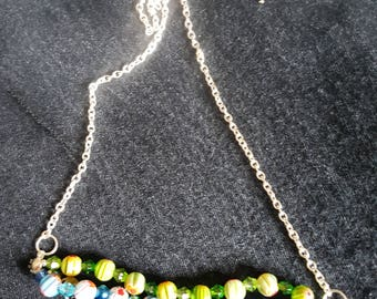 Multi bead three strand necklace