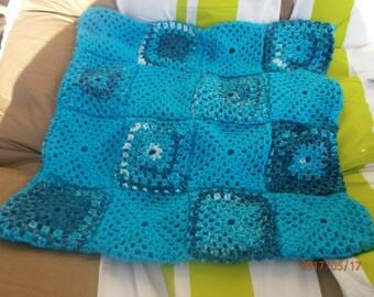 in shades of blue retro Cushion cover