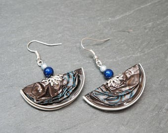 Earrings capsules of coffee - delicate half moon blue and chocolate