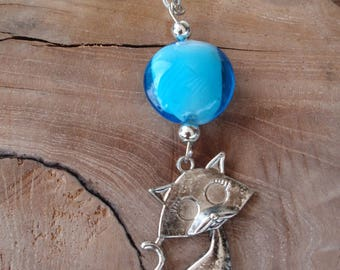 Necklace and pendant Choker the blue steel with silver-plated etperle glass cat pendant