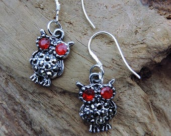 OWL, OWL earrings Tibetan silver, Sterling Silver bail.