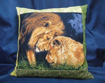 "Square Cushion cover, ""animals of Africa"" collection No. 3, lion, lioness (C352C)"