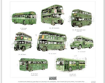 London Country Buses Fine Art Print- (AEC Routemaster Regent Regal Green Line)